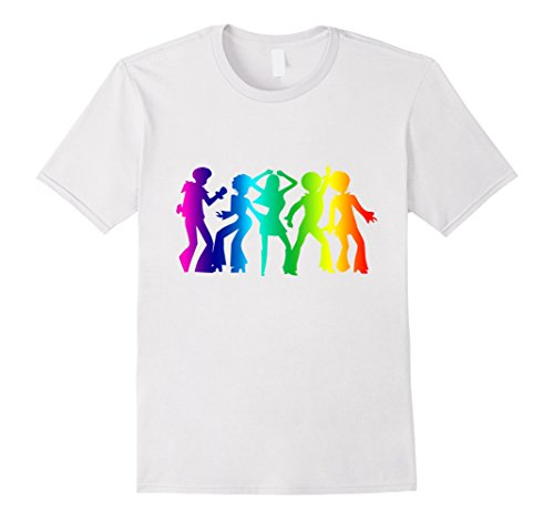 Mens Vintage Retro 1970s Rainbow Disco Dancers T-Shirt Graphic XL White (Disco Themed Clothes)