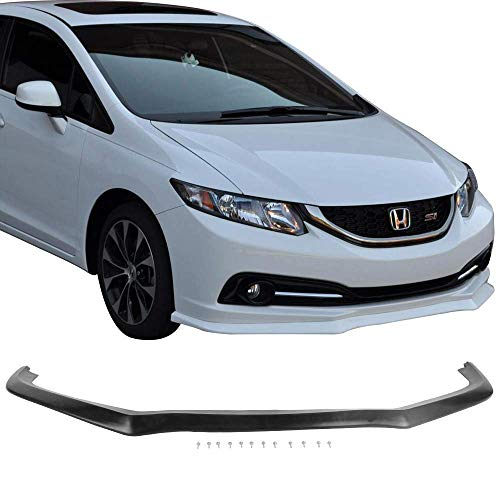 Front Bumper Lip Fits 2013-2015 Honda Civic | CS Style Black PU Front Lip Finisher Under Chin Spoiler Add On by IKON MOTORSPORTS | 2014