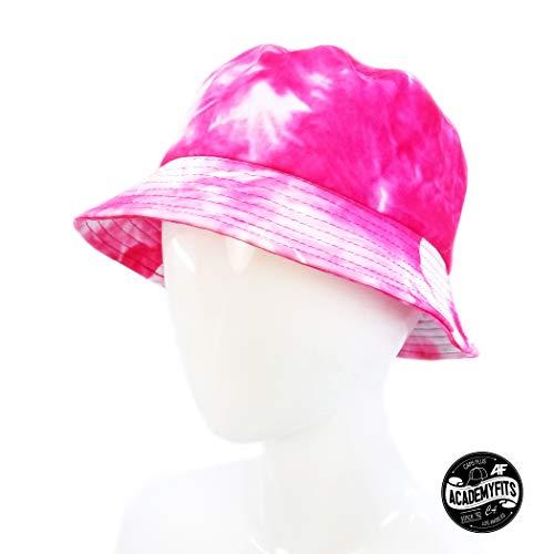 (AcademyFits Quality Cotton PU Fashion Print Pattern Bucket Sun Hats Men Women Unisex Unconstructed Packable Cap (Pink Dye))