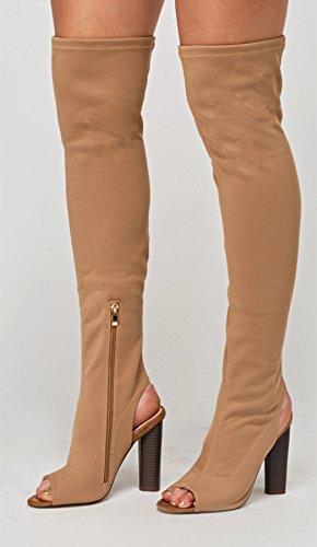 Bloque las Tamaño mujer Toe sobre para anchas Definitivamente del alto la rodilla Tejer muslo estiramiento Tacón mujeres Taupe Botas Peep UqdCxwtI