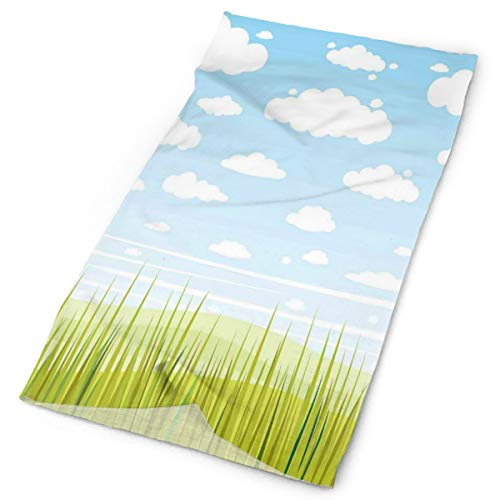 Headwear Headband Head Scarf Wrap Sweatband,European Cottage Pastoral View With Grass And Clouds Idyllic Landscape,Sport Headscarves For Men Women