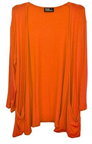 Size Sleeve Long Top Shrug Cardigan Plus Women Orange Boyfriend gtHqg