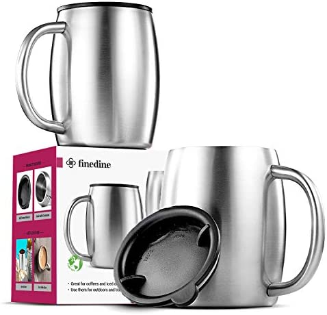 Insulated Stainless Steel Coffee Mug with Lid and Handle (2 Pk) 14 ounces.- BPA-Free Spill Proof Lid, Double Wall Camping Travel Coffee Mugs Tough & Shatterproof, Keeps Coffee/Tea Hot And Beer Cold Longer