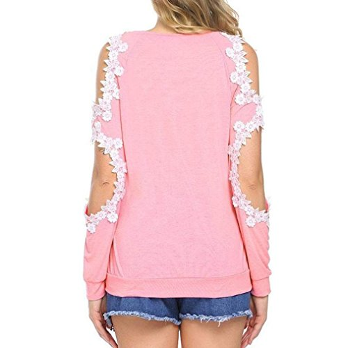 Manches Lace Pink Tops Longues Epaules Tops Femme Sexy Blouse Shirts Dnud YUYOUG Femme Haut Casual Crochet Tunique avxYIzqzw