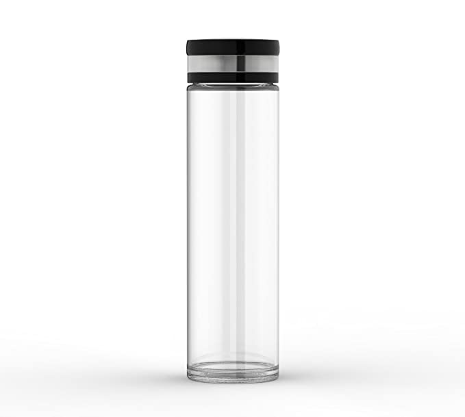 Botella de agua de vidrio (20 oz) - respetuosa con el medio ambiente amplia boca agua embotellada - Funda de silicona para un agarre antideslizante, ...
