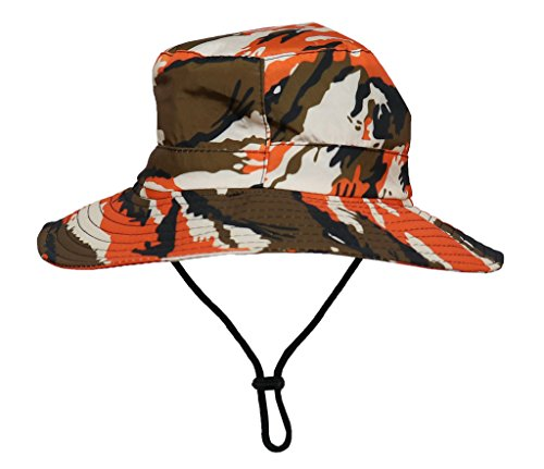 COMVIP Unisex Children Sun Adjustable Camouflage Bucket Hat Orange