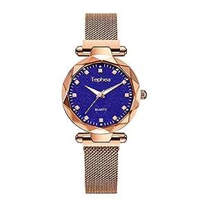 Tephea Ladies Rhinestone Fashion Casual Crystal Watch Waterproof Quartz Starry Sky Blue Dial Wrist Watch Stainless Steel Magnetic Band - TE1923 (Gold)