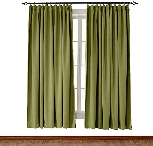 Extra Wide Heavyweight Luxury Faux Linen Curtain 120″ W x 102″ L Pinch Pleat Drapery Panel