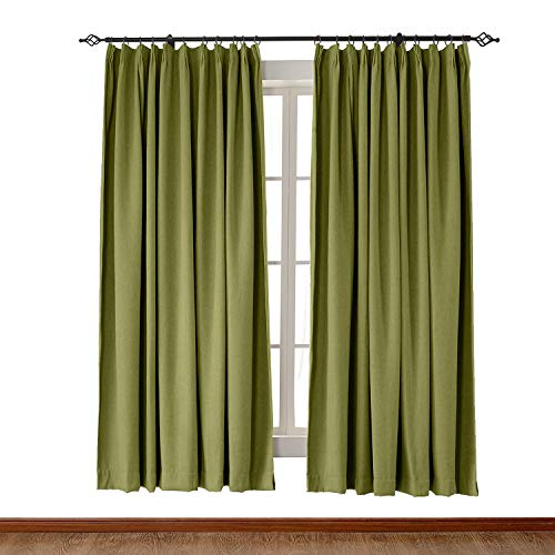 ChadMade Pinch Pleat 72W x 84L Inch Heavyweight Luxury Faux Linen Curtain Drape Panel for Bedroom Living Room Study Patio Door Green (1 ()