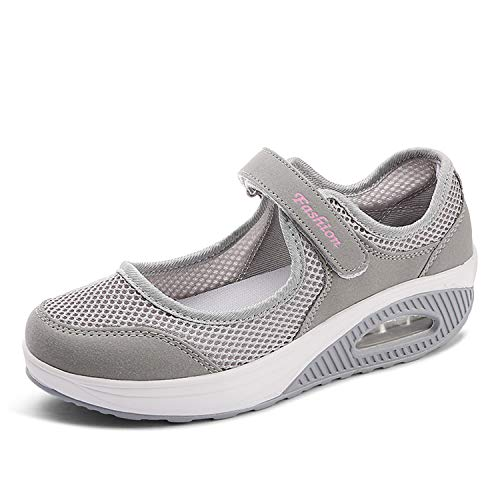 EXEBLUE Women's Casual Walking Shoes Platform Shoes Nursing Shoes Breathable Work Sneakers Grey