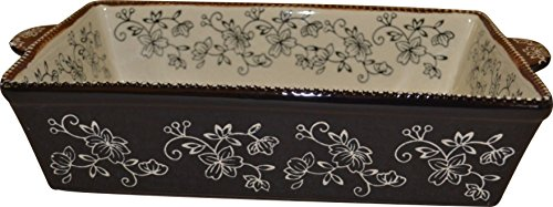 Temp-tations 11 inchx7 inch 2.5 Quart Baker Lasagna Casserole Dish Replacement - Floral Lace Black