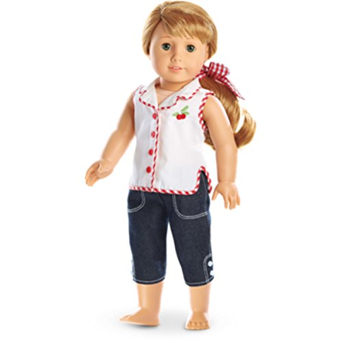 American Girl Mary Ellen Cherry Outfit for 18 Inch Dolls Play Clothes Red Gingham Capris