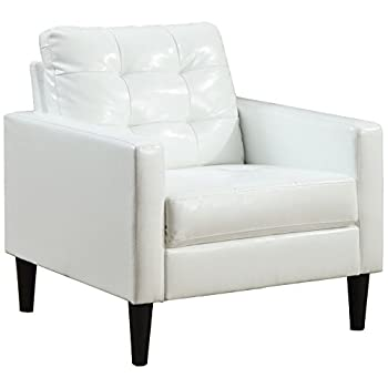 Image of Home and Kitchen ACME Balin White Faux Leather Accent Chair