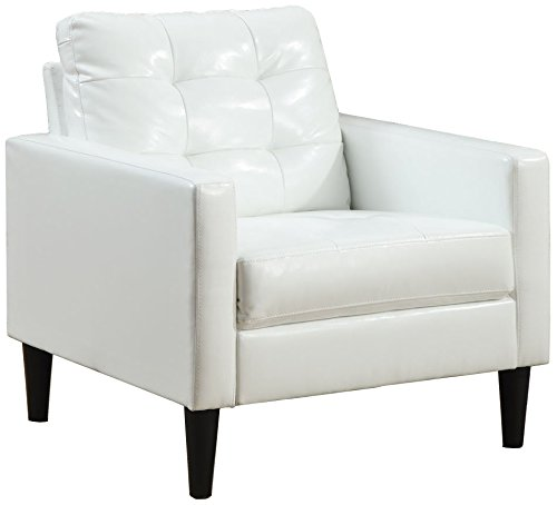 ACME Balin White Faux Leather Accent Chair (Leather Armchairs Small For Sale)