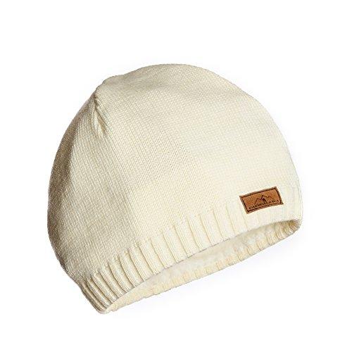 CacheAlaska Beanie White Ivory Knit Hat - Premium Wool Blend - Designed by Designed Beanie