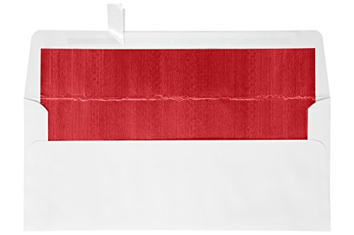 #10 Foil Lined Square Flap HOLIDAY Envelopes (4 1/8 x 9 1/2) w/Peel & Press - White w/Red LUX Lining (50 Qty.) | Perfect for Checks, Invoices, Letterhead, Statements, and More! | FLWH4260-01-50 (Envelope Lined Red White)