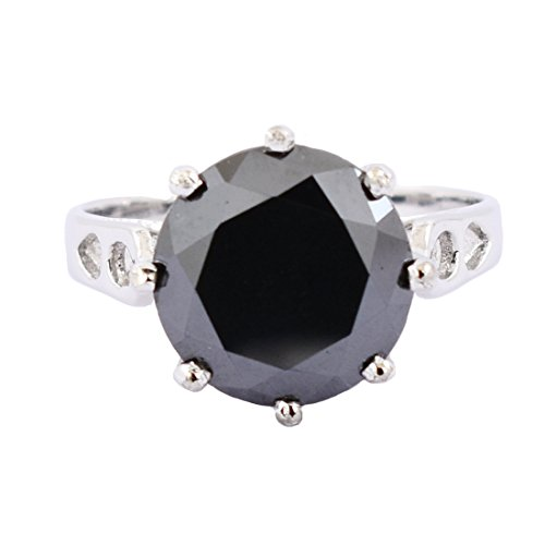 Certified 5.05 Cts Round Cut Black Diamond Solitaire Silver Ring by skyjewels