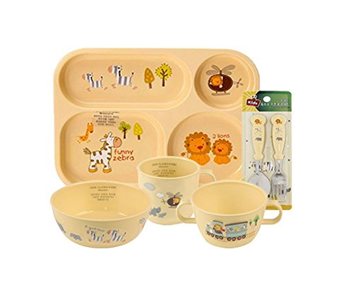 E-MART BPA Free, 100% Biodegradable Corn Made Kids Dinnerware Basic Set, 5 Piece (Bpa Free Corn compare prices)