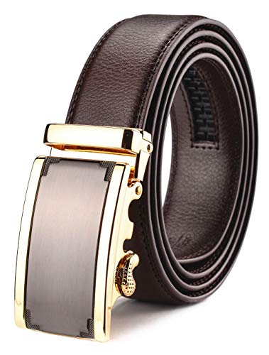 Xhtang Men's Solid Buckle with Automatic Ratchet Leather Brown Belt 35mm Wide 1 3/8