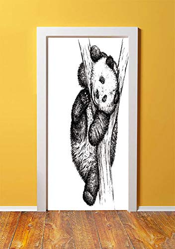 Animal Decor 3D Door Sticker Wall Decals Mural Wallpaper,Cute Little Panda Bear on Tree Branch Fury Tropical Jungle Zoo Sketchy Print,DIY Art Home Decor Poster Decoration 30.3x78.10546,Black White