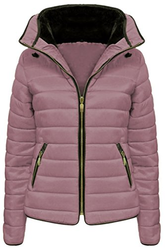 Fashionchic Puffer Fur Ladies Coat Thick 6 Jacket Quilted Bubble 14 Jacket Hooded Women's Nude Padded Collar nX6x0Hqq