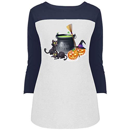Happy Halloween Women's 3/4 Sleeve Print T Shirt Top -