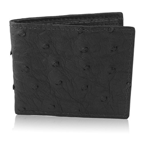Black Genuine Ostrich Skin Leather Bifold Wallet Handmade with 6 Card Slots