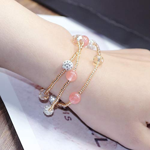 Unique Small Charm Bracelet Bangle Women Girls Sparkling Diamond Natural Jade Agate Rose Quartz Crystal Multilayer Sweet Bracelets (0490 Watermelon Crystal Bracelet (Diamonds Bracelet Sparkling)