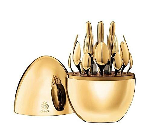 - Mood by Christofle Paris France Silver Plate Flatware Set 24 Pc 24k Gold Egg New