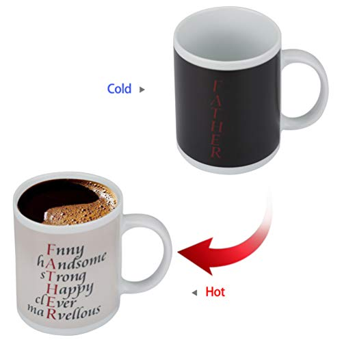 Father Gifts - Heat Sensitive Mug Color Changing Coffee Mug Funny Coffee Cup,Novelty Ceramic Heat Sensitive Mug With Funny Warm (DAD 01, 11oz)]()