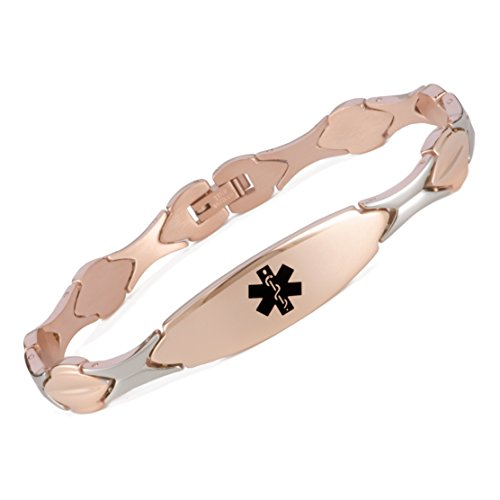 linnalove Free Engraving Rose Gold Medical id Bracelet for Women(6.5)