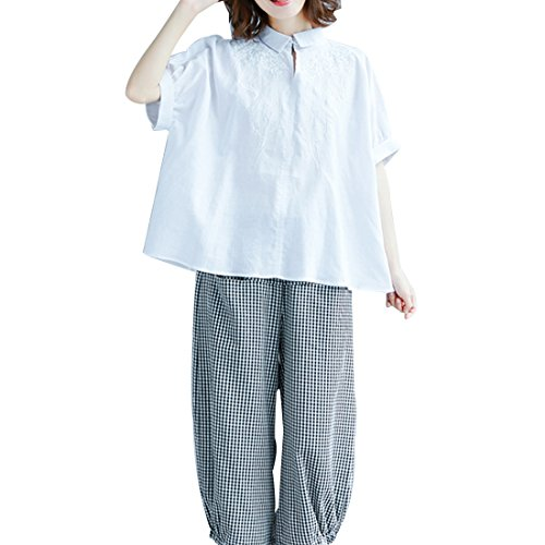 広げるアクション泣き叫ぶ(ボラ-キキ) Bole-kk シャツ ブラウス レディース 半袖 Yシャツ オフィス ビジネス フォーマル フリル トップス ゆったり 大きいサイズ 刺繍 コットン 麻 かわいい おしゃれ