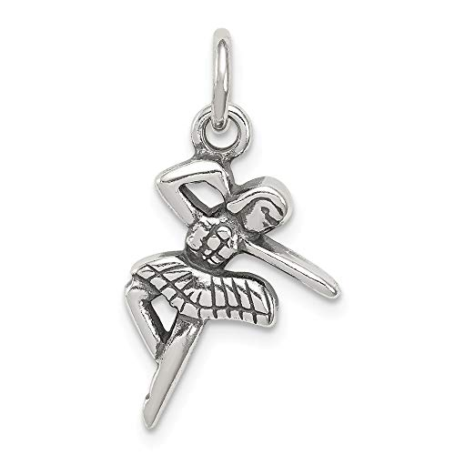 Mireval Sterling Silver Antique Ballerina Charm (approximately 20 x 13 mm)