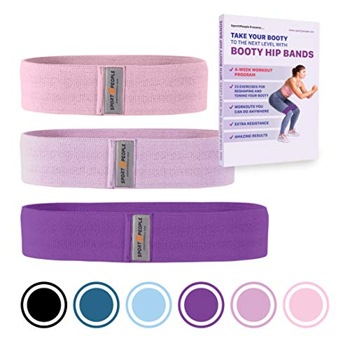 Sport2People Exercise Band for Legs and Butt with Free 4-Week Booty Workout Program - Fabric Resistance Loop Bands Set for Strength Training, Home Gym, Fitness (Set Pink)
