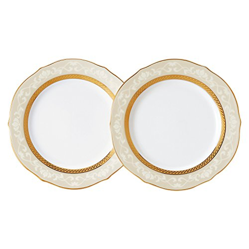 Noritake Fine Po Sen Hampshire Gold 23cm accent plate pair set P91310 / 4335