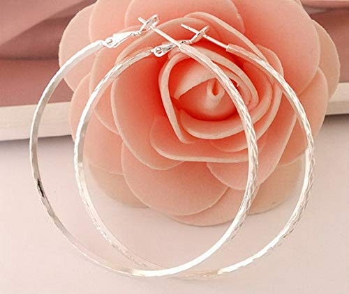 (Rhame Elegant CZ Hoop Ear Studs Womens Fashion Silver Plated Earrings Huggie Jewelry   Model ERRNGS - 19207  )