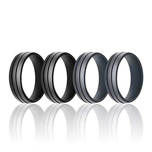 Diamond Domed Designer Ring - SANXIULY Mens Silicone Wedding Ring&Rubber Wedding Bands for Workout and Active Athletes Width 8mm Pack of 4 Size 11