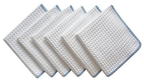 SINLAND Thick Microfiber Waffle Weave Dish Cloths Dishcloths Washcloths Facial Cloths 6 Pack White W/Edge Blue (Blue Colored Waffle)