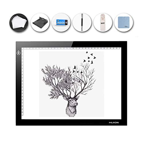 HUION LED Light Pad Ultra Thin 5mm Drawing Box Copy Tracing Stencil Tattoo Board Table with Multifunction Holder, Drawing Board Clip, 6 PCS of Tracing Paper (L4S Holder)
