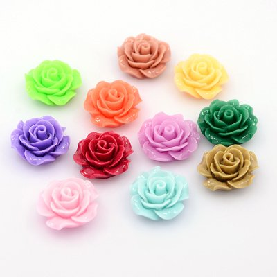 50 pcs of Resin Cabochons, Flower, Mixed Color, 18~20x9mm