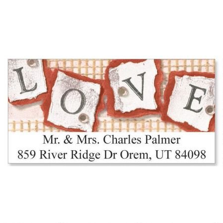 (Personalized Stamped Love Valentine's Day Address Labels - Set of 144 Self-Adhesive, Flat-Sheet)
