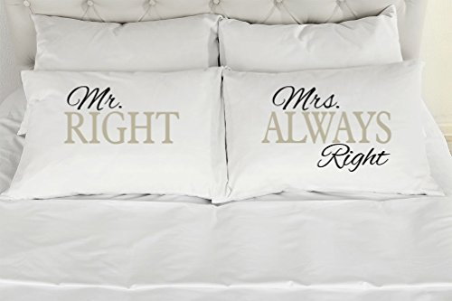 [Set of 2 Standard/Queen Couples Pillow Cases, Mr. Right ~ Mrs. Always Right (Text Colors are Black & Gray), Wedding Bridal Shower Gift] (Printed Standard Pillow Case Set)