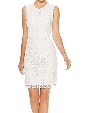 Calvin Klein Women's Floral Lace Sheath Dress White Ivory 8