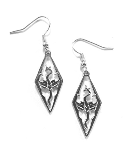 Scrolls Skyrim Dragon Silver Earrings product image