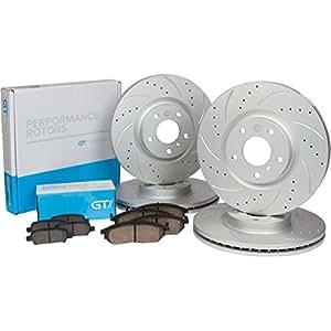 [Front & Rear Kit] GT//Rotors Performance Brake Disc Rotors & Ceramic Pads for Infiniti G35 2003 - 2004 Nissan 350z 2003 - 2005