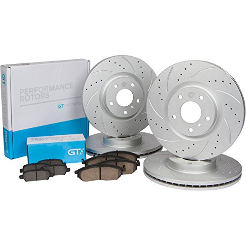 [Front + Rear Set] High Performance Brake Disc Rotors & Ceramic Pads for Honda Civic EX [2013-2015] ILX 2.0L Models (Honda High Performance Brake Pad)