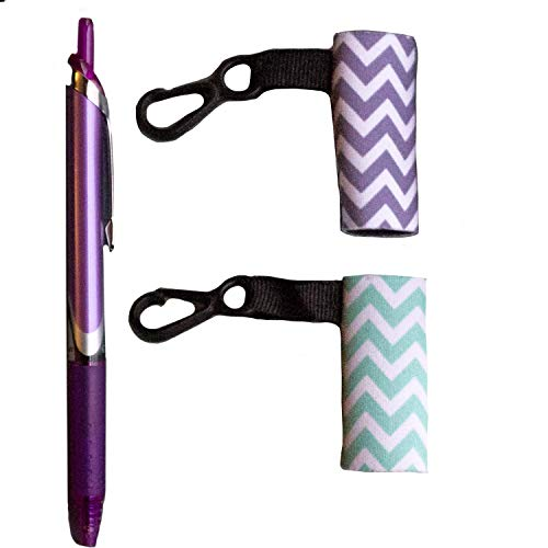 Clip-On Neoprene Chapstick Sleeve. 2 Pack Lip Balm Holder in Chevron Colors. ... (Mint & Gray)
