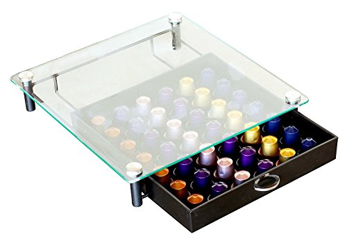 (DecoBros Crystal Tempered Glass Nespresso OriginalLine Storage Drawer Holder for Capsules)