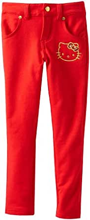 Hello Kitty Little Girls' Knit Pant Skinny, Red, 6
