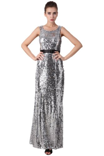 Women's Eye Catching Allover Sliver Sequins Long Evening Dress
